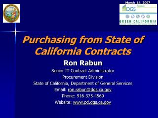 Purchasing from State of California Contracts