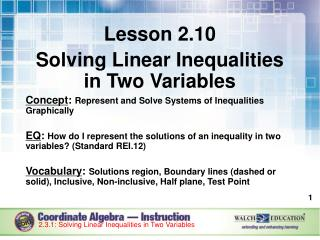 Lesson 2.10 Solving Linear Inequalities in Two Variables
