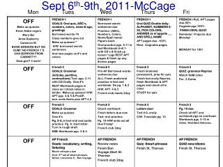 Sept 6 th -9th, 2011-McCage