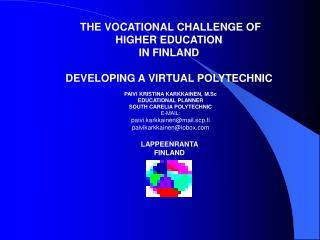THE VOCATIONAL CHALLENGE OF HIGHER EDUCATION  IN FINLAND  DEVELOPING A VIRTUAL POLYTECHNIC