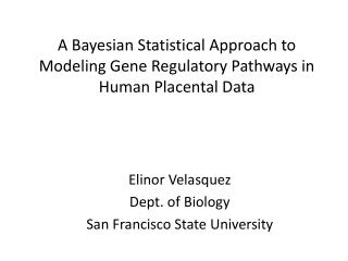 A Bayesian Statistical Approach to Modeling Gene Regulatory Pathways in Human Placental Data
