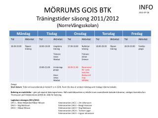 MÖRRUMS GOIS BTK Träningstider säsong 2011/2012 (NorreVångsskolan)