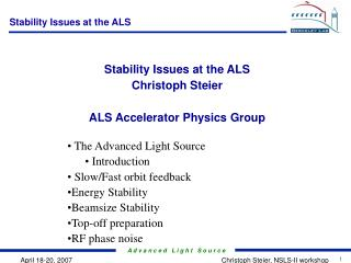 Stability Issues at the ALS