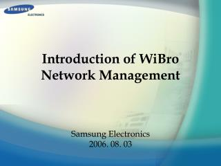 Introduction of WiBro Network Management