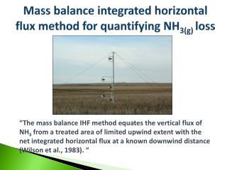 Mass balance integrated horizontal flux method for quantifying NH 3(g)  loss