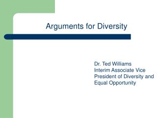 Arguments for Diversity