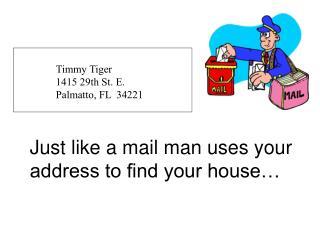 Timmy Tiger 1415 29th St. E. Palmatto, FL  34221