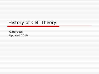 History of Cell Theory