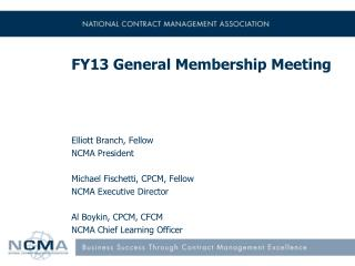 FY13 General  Membership Meeting