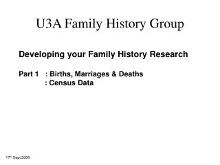 U3A Family History Group