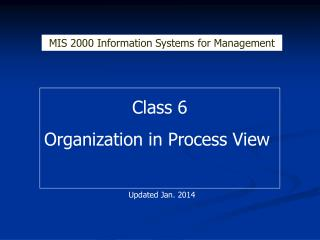 Class 6 Organization in Process View