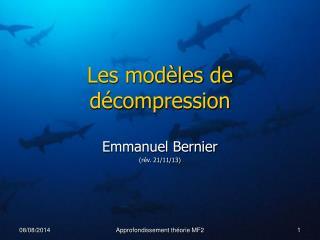 Les modèles de décompression