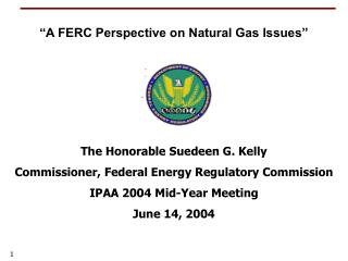 The Honorable Suedeen G. Kelly Commissioner, Federal Energy Regulatory Commission