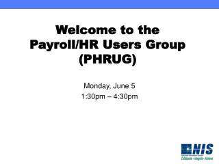 Welcome to the Payroll