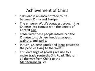 Achievement of China