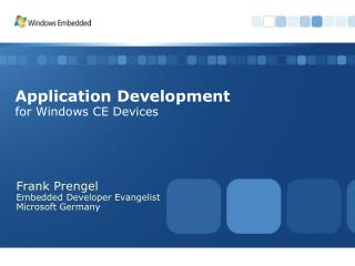 Application Development for Windows CE Devices