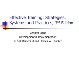 Effective Training: Strategies, Systems and Practices, 3 rd  Edition