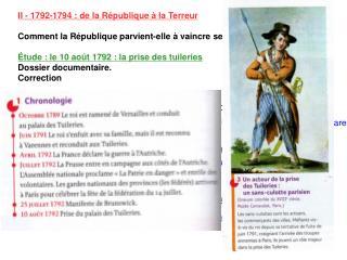 II - 1792-1794 : de la R é publique  à  la Terreur