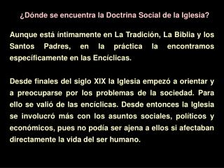 �D�nde se encuentra la Doctrina Social de la Iglesia?