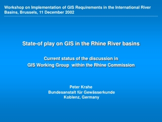 GIS and the EU Water Framework Directive WFD
