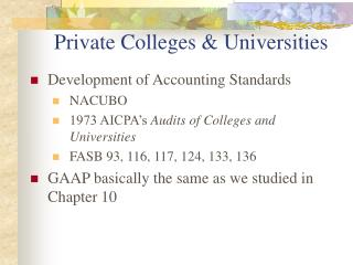 Private Colleges  Universities
