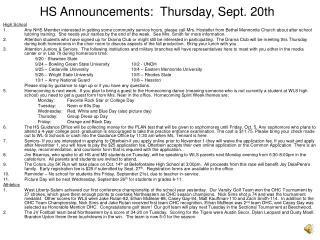 HS Announcements:  Thursday, Sept. 20th