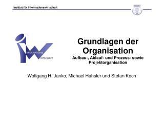 Grundlagen der Organisation Aufbau-, Ablauf- und Prozess- sowie Projektorganisation