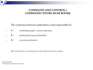Command Centre (War room) for controlling of the product flow