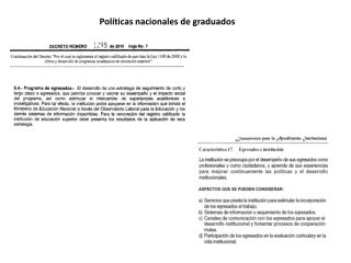 Pol�ticas nacionales de graduados