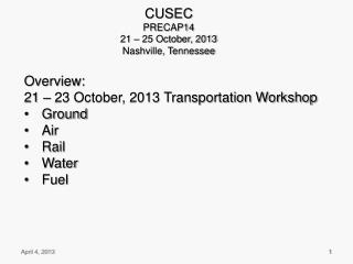 CUSEC PRECAP14 21 – 25 October, 2013 Nashville, Tennessee