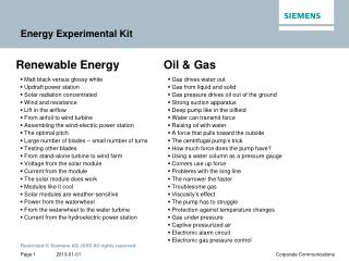 Energy Experimental Kit