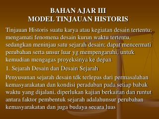 BAHAN AJAR III MODEL TINJAUAN HISTORIS