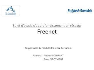 Sujet d'étude d'approfondissement en réseau: Freenet