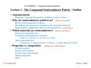 Announcements Handouts - General Information; Syllabus; Lecture 1 Notes