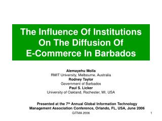 The Influence Of Institutions On The Diffusion Of  E-Commerce In Barbados
