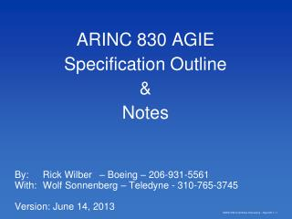ARINC 830 AGIE Specification Outline & Notes