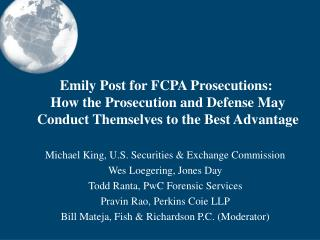 Emily Post for FCPA Prosecutions:
