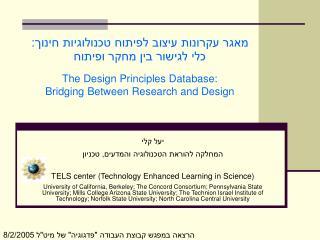 מאגר עקרונות עיצוב לפיתוח טכנולוגיות חינוך: כלי לגישור בין מחקר ופיתוח
