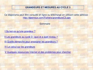 GRANDEURS ET MESURES AU CYCLE 3