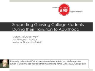 Supporting Grieving College Students During their Transition to Adulthood