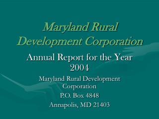 Maryland Rural Development Corporation