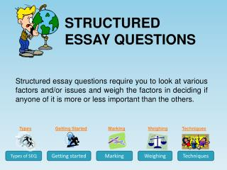STRUCTURED ESSAY QUESTIONS