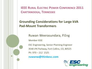 IEEE Rural Electric Power Conference 2011 Chattanooga, Tennessee