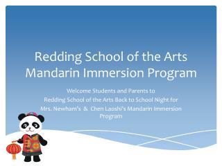 Redding School of the Arts Mandarin Immersion Program