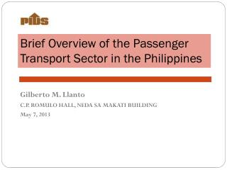 Brief Overview of the Passenger Transport Sector in the Philippines