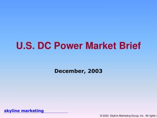 U.S. DC Power Market Brief
