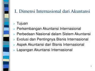 I .  Dimensi Internasional dari Akuntansi