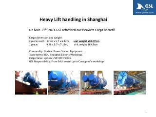 Heavy Lift handling in Shanghai