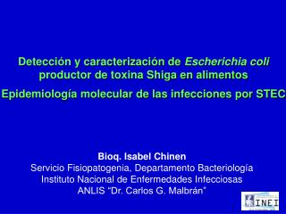 Detecci�n y caracterizaci�n de  Escherichia coli  productor de toxina Shiga en alimentos