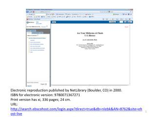 Electronic reproduction published by NetLibrary (Boulder, CO) in 2000.